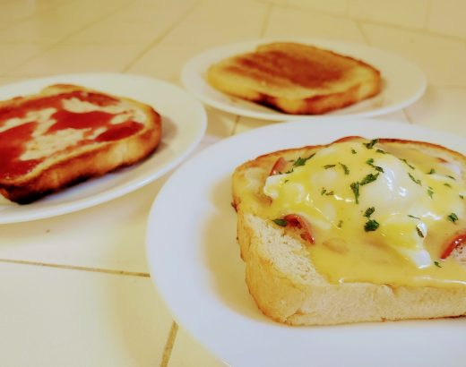 English muffin bread served with butter and jam, cinnamon sugar, or eggs benedict