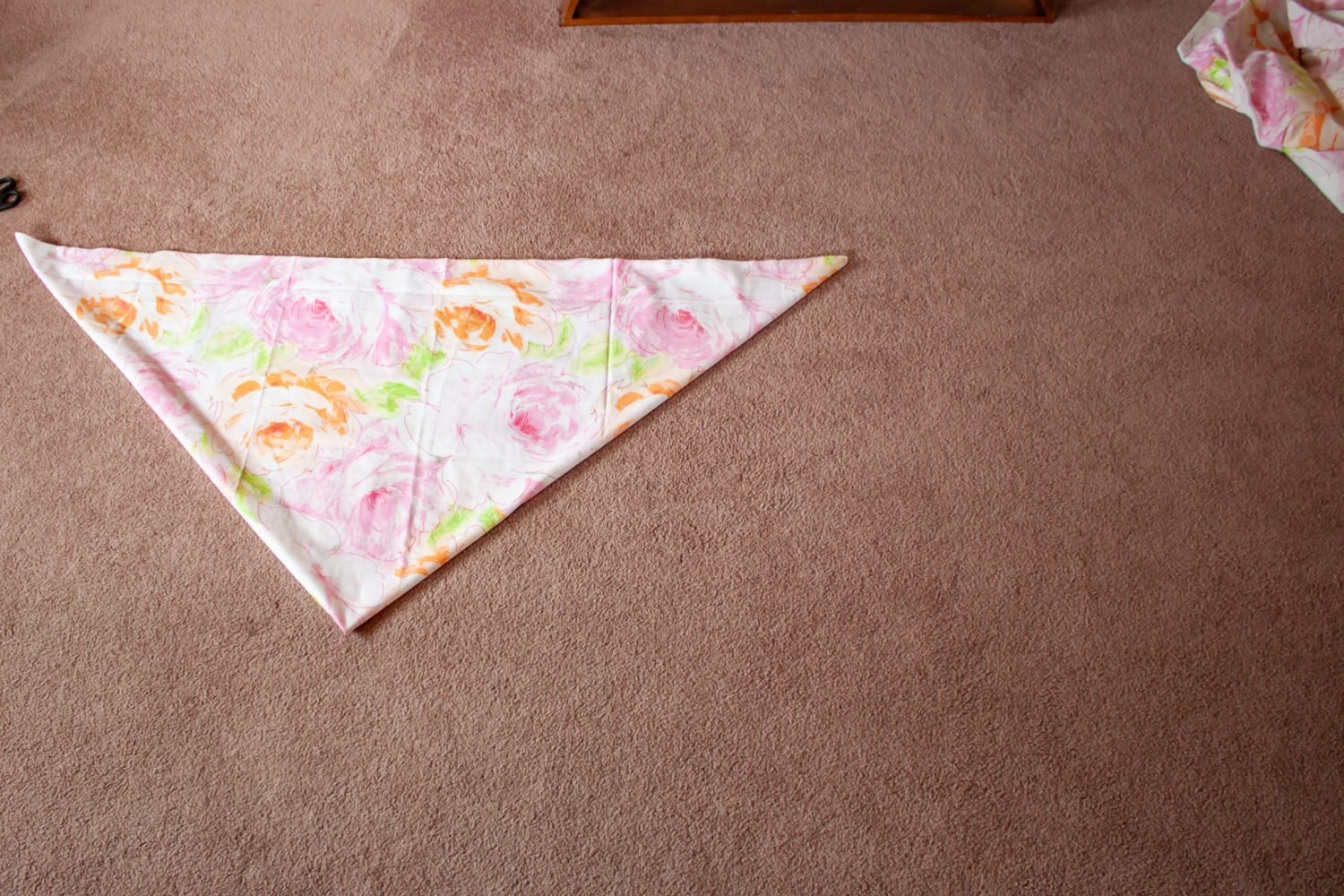 Fabric folded into a triangle