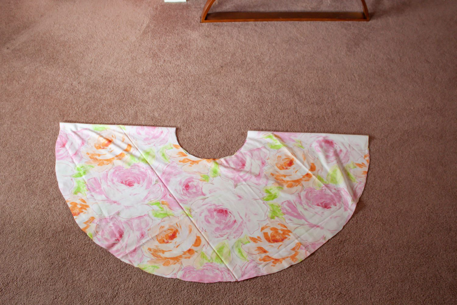 Circle skirt folded in half