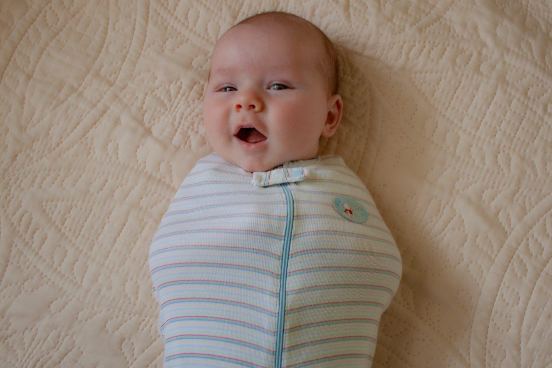 Baby wearing DIY swaddle
